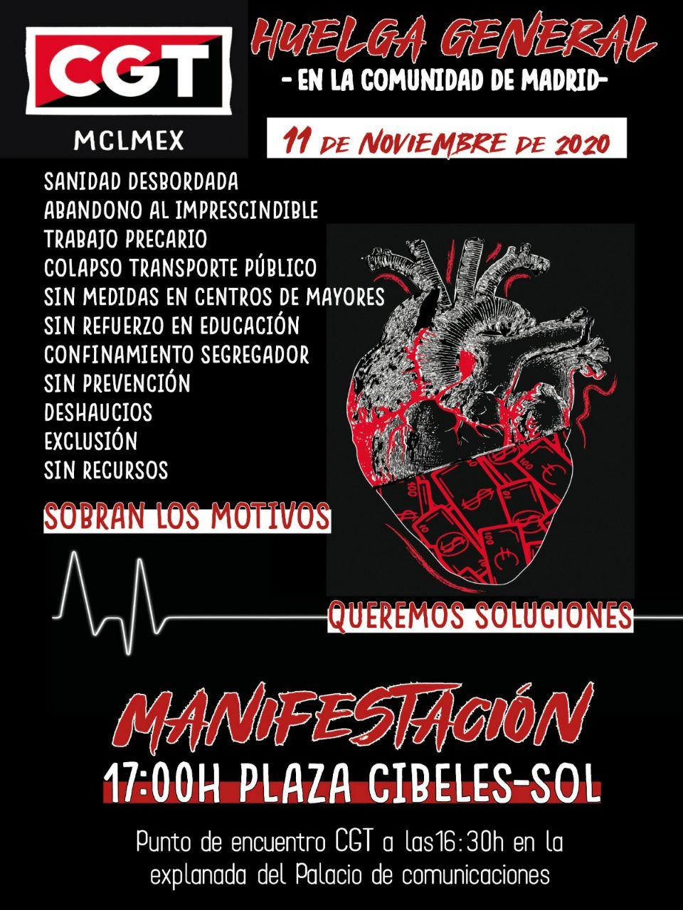 Manifestacion miércoles 11 de noviembre a las 17:00 horas. De Cibeles a Sol.